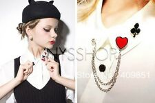 Women Collar Tips Black Bing Chain Tips Pointed Studs Pin Brooch Blouse Shirt