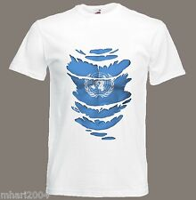 United Nations Flag T-Shirt see Muscles through Ripped UN T-Shirt Sizes S - XXXL