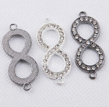 3pcs Crystal Rhinestones Infinity Bracelet Connector Charm HQ.