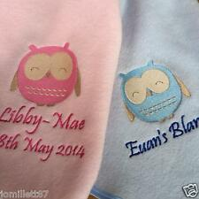 Personalised Embroidered Baby Blanket - OWL DESIGN - Cute unique New Baby Gift