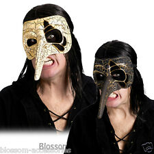 A316 Venetian Raven Mask Black or Ivory Adult Halloween Costume Accessory