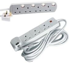 EXTENSION LEAD 4 GANG 4 SOCKET SWITCHED WHITE 2m,3m,5m,10m,15m,20m MAINS CABLE