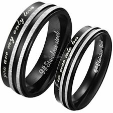 "Black Stainless Steel "" You Are My Only Love "" Promise Ring Couples Wedding Band"
