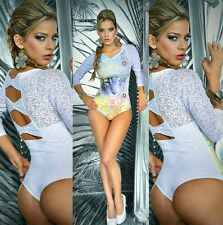 NEW BODYSUIT Stud HOT WOMENS Top BODYBLOUSE/CINCHER SEE TRUE Bow LACE OPEN BACK