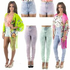 Womens New Super High Waisted Skinny Tube Jeans Shorts Hot Pants Stretchy