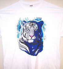 WHITE TIGER FACE T Shirt White Sz Sm - 6XL Awesome Big Cat Blue Eyes Design