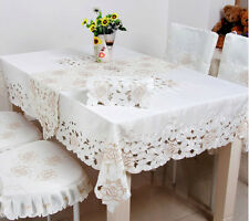 white lotus Cutwork dining tablecloth table runner Chair cushion tidy multi size
