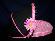 Pink and Black Bassinet Cover
