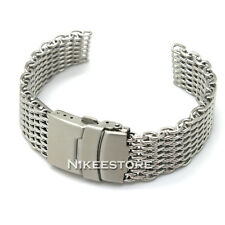 New 18 20 22 24 mm Silver Bracelet Shark Mesh Watch Band Strap Replacement Parts