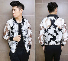 New Mens Summer Fahison Sexy Floral See Through Lightweight Rare Fit Jacket Coat