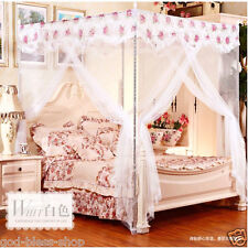 High quality eight metal bar 4 corner canopy Mosquito net/curtain bed queen size