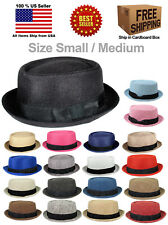 PORKPIE PORK PIE FEDORA UPTURN SHORT BRIM FABRIC HAT CAP SIZE SMALL/MEDIUM