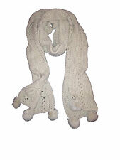Ladies Cream Knitted Warm Winter Scarf with Pom Pom at ends NEW