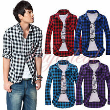 Fashion Mens long sleeve Slim Fit Down Lapel Casual Plaid Check Shirt Work Dress
