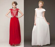 New Red/White Two Color Lace Hit Chiffon Hot Evening Fashion Long Vintage Dress
