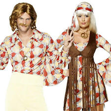 1960s Groovy Hippie Mens Ladies Fancy Dress 60s-70s Hippy Adult Sixties Costume