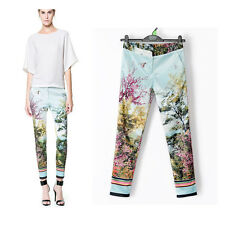 Chic Straight Autumn Winter Floral Birds Scenery Fit Print Pencil Causal Pants