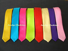 Top Youth Men's Tie Very Narrow Plain 2'' Wide In 30 Colours New