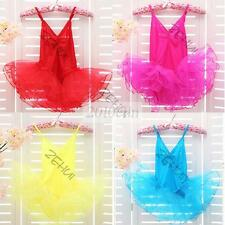 Kids Girls Ballet Dancewear Tranning Dance Skirt Tutu Strap Dress Leotard 3-12Y