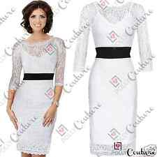 Womens Gorgeous Lace Smart Pencil Bodycon Ladies Lucy Meck Party Midi Long Dress