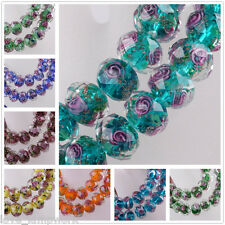 8/20pcs 10mm Flowers Faceted Rondelle Lampwork Glass Charms Loose Spacer Beads