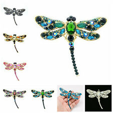 """Rhinestone Crystals Animal Dragonfly Brooch Pin Women Jewelry 3.7"""" 7 Colors 5684"""