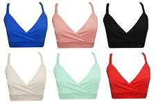 New Womens Ladies Plain Cami Strappy Bra Crop Top Vest Tank Bralet Top Size 8-14