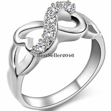Charm Heart Shape Infinity Symbol w CZ Love Promise Engagement Ring Ladies Gifts