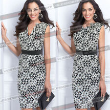 Womens Retro Business Casual Party Cocktail Tunic Pencil Slim Bodycon Dress 861