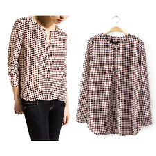 Brown Womens Long Sleeve Button Down Shirt Casual Polka Dot Tops Blouse T Shirt
