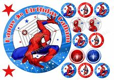 Edible Spiderman Cake & Cupcake Toppers Personalised Icing Sheet Boys Red Blue