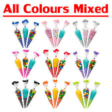 Polka Dot Mixed Colourful Shaped Cone Cello Cellophane Xmas Party Birthday Bags