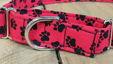 Red with black paws designer MARTINGALE dog collar with leash set option
