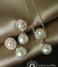 18K Rose Gold Plated Crystal Pearl Drop Necklace&Earring/S023/E114