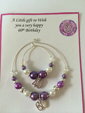 Wine, Champagne Bottle & Glass Charm  18th & 21st  Birthday Gift Present Purple