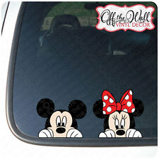 "Mickey and Minnie Mouse Disney ""Peeking"" Color Vinyl Car Decal"
