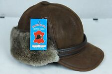 Cognac Sheepskin Shearling Leather Trapper Elmer Fudd Hunting Aviator Hat M-3XL