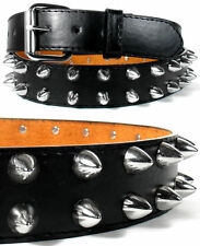 BIG SILVER SPIKE METAL SPIKES GOTHIC BLACK LEATHER BELT w REMOVABLE BELT BUCKLE