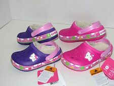 New Crocs Crocband Hello Kitty Fair Lined Clogs Shoes SZ 6/7 8/9 10/11