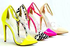 Womens Neon Pointy Toe Clear Lucite Transparent Ankle Strap Stiletto Pumps Shoes