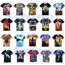 Men Women 3D Skull Animal Ethnic Hamburger Space Galaxy Round T Shirt Top Tee