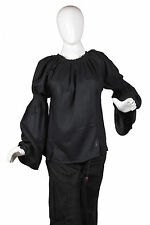 Caribbean Pirate Renaissance Wench Medieval Costume Girl Black Blouse Top 1770