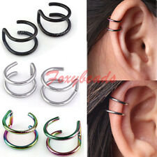 Stainless Steel 2-Row Fake Cartilage Ear Nose Lip Cuff Wrap Clip On Earring Gift