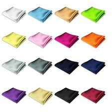 Men Silk Satin Handkerchief Pocket Square Hanky Wedding Party 16 Solid Color New