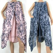 NEW Womens Soft Cotton Italian Floral Lagenlook Long Midi Split Dress 8-16