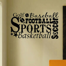 Vinyl Wall Lettering All Sports Word Collage Football Basketball Soccer Golf