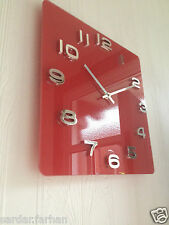 VINTAGE SHABBY CHIC GLOSSY EMBOSSED/RAISED NUMBERS SQUARE WALL CLOCK RED BLACK