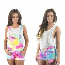 Womens New Rainbow Tie Dye Denim Jeans, Shorts, Dungarees All in One