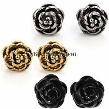 Vintage Rose Flower Charm Stainless Steel Women's Girls Screw Back Stud Earrings