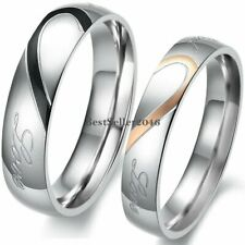"Stainless Steel "" Real Love ""Couples Heart Promise Ring Engagement Wedding Band"